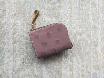刺繍革財布『SHABON』くすみピンク(牛革)☆二つ折りミニ財布☆の画像