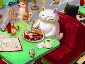 カマノレイコ オリジナル猫ポストカード「アメリカンな朝ごはん」2枚セットの画像