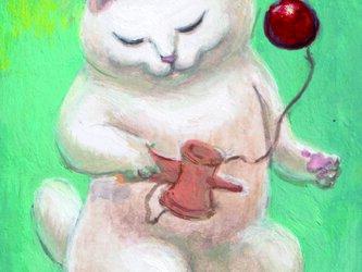 カマノレイコ オリジナル猫ポストカード「けん玉」2枚セットの画像