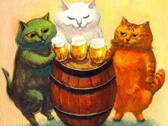 カマノレイコ オリジナル猫ポストカード「ビールで乾杯」2枚セットの画像
