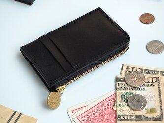 L字ファスナー フラグメントケース(ブラック)パス カード ミニ財布の画像