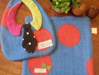 8重ガーゼの襟&ネクタイつきスタイとハンカチセット ブルーの画像