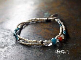 「T様専用」古代施釉水晶と古代カーネリアン、古代瑪瑙、発掘ビーズ、 ハーキマーダイヤモンド、ホワイトビーズの2連ブレスの画像