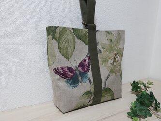 10%OFF花と蝶柄フランスリネン&帆布ワンハンドトートバックの画像