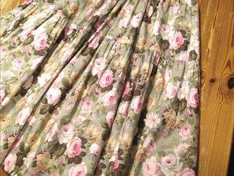 木綿の3段ティアードスカート(ミント)の画像