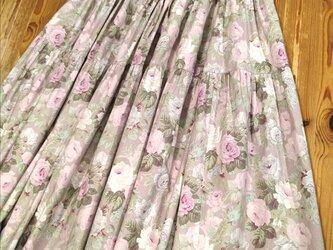 木綿の3段ティアードスカート(モーブ)の画像