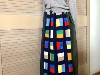 送料込・パッチワーク3色切替タックギャザーロングスカート・ウエストゴムの画像