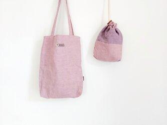 肩掛けミニトートbag & 巾着  グレイッシュピンクの画像