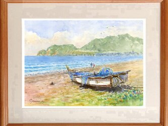 水彩画原画 鎌倉 由比ヶ浜海岸 #473の画像