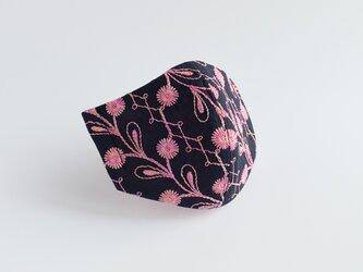 PSNY 桃色タンポポ・クレピス・刺繍のマスク 不織布フィルター入り ピンクの花 上品 可愛い ますく マスク FR18の画像