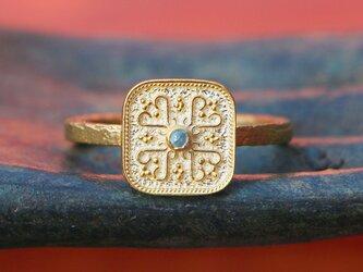 古代スタイル*天然サファイア 指輪*7号 GP の画像
