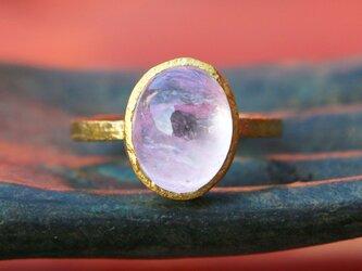 古代スタイル*天然ピンクモルガナイト 指輪*7号 GPの画像