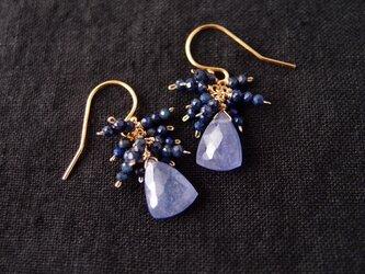 送料無料【K14gf】フリンジピアス/tanzanite × lapis lazuliの画像