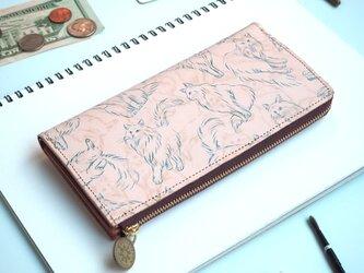 L字ファスナー長財布(ノルウェージャン フォレスト キャット) 牛革 レディース メンズの画像