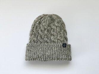 ウール/麻のぽっこりニット帽 アラン模様 ベージュ杢の画像