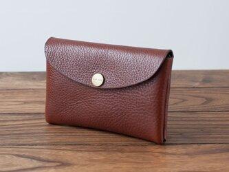 イタリア製牛革のMIDDLE財布 / ダークブラウン※受注製作の画像
