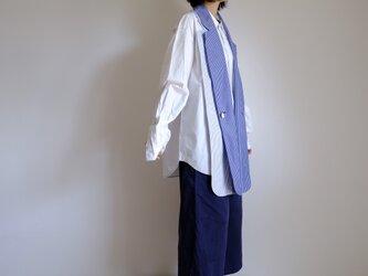新作・ラペルストール ふたえ / ジャケット 付け襟 / コットン【 紺白ストライプ 】/ lapel stall doubleの画像