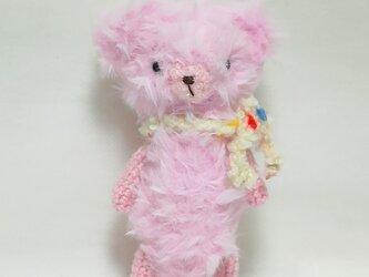 ピンク色のテディベア(あみぐるみ)の画像