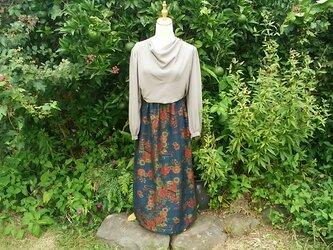 紬の着物リメイク  セミフレアースカート  割引価格 7500円の画像