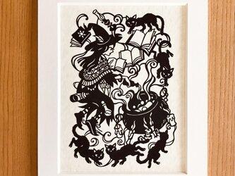 読書の切り絵「猫の本」の画像