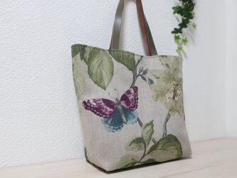 再販花と蝶柄フランスリネントートバックの画像