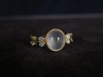 K18YG・WG 氷翡翠・ ダイヤモンド リングの画像