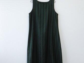 *アンティーク着物*縞模様泥大島紬のワンピース(Lサイズ・5マルキ)の画像
