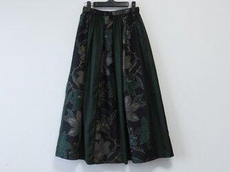 Y様ご予約品*アンティーク着物*花模様十日町紬と縞模様泥大島紬のパッチスカート(裏地付き・5マルキ)の画像