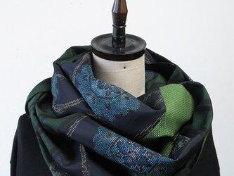 *アンティーク着物*華紋模様十日町紬のパッチスヌードの画像