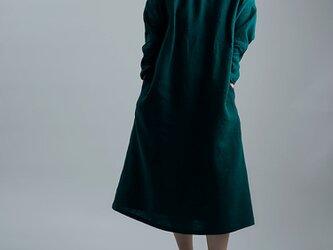 【wafu 入門編】数量限定!Linen Dress シャーリングハイネック ドレス/ビリジアン a008f-vrj2の画像