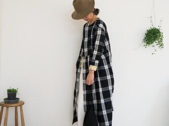 Linen check one-piece BLACKの画像