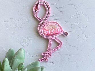フラミンゴブローチ (ピンク)の画像