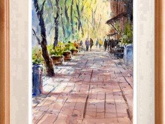 水彩画原画 木陰の歩道 #475の画像