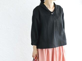 リネンショールカラー 七分袖 プルオーバーブラウス (ブラック)の画像