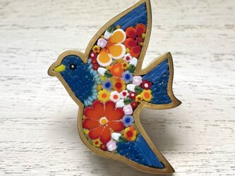 青い鳥|帯留め|の画像