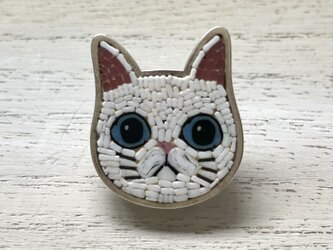 猫(シロ)|帯留め|ベース銀製の画像