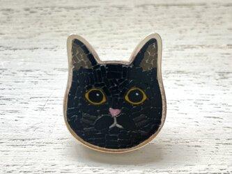 猫(クロ)|帯留め|ベース銀製の画像