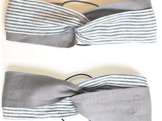 着け心地の良いリバーシブルクロスヘアバンドターバン【サイズ調節可能】ハンドメイドの画像