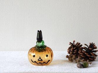 ハロウィンかぼちゃと黒猫の画像