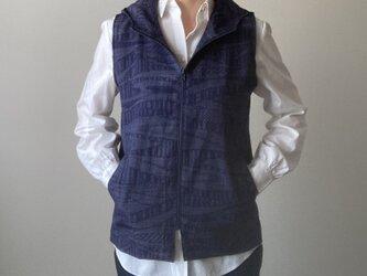 着物リメイク パーカーベスト 紺紬の画像