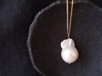 バロックパールチェーンネックレス【K14gf】fishtail ・baroque pearl/mediumの画像