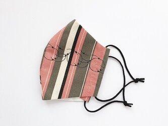 復刻古布を使った 和モダン縞もようマスク 手縫いの画像