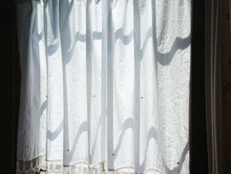 ホワイトコットン♪7パールカフェカーテン 112cm×67cmの画像