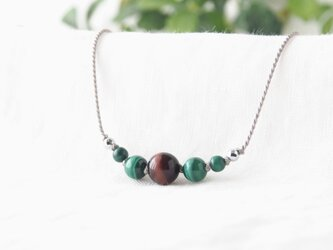 Tiger's Eye Short Necklace(Red×Green)の画像
