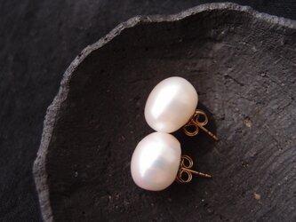 【K14gf】大粒バロックパールのピアス13mm/Baroque pearlの画像