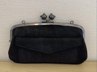 【送料無料】黒猫口金の、外ポッケがついた本革ぺたんこ親子がまぐち長財布の画像
