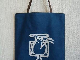 酉・藍のトートバックの画像