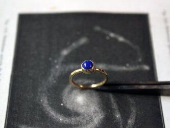 【受注生産】宇宙のささやき(ラピスラズリ)一粒石の真鍮リング プレゼントに最適の画像