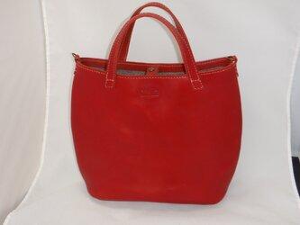 ふっくらトートバッグ 赤の画像