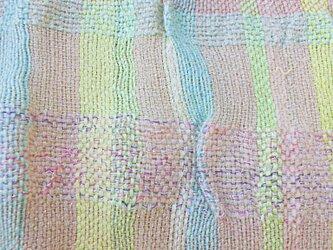 手織り 大判ショール パステル系 ピンク  SHA107A 手染め チェック柄 強撚糸 シルク ラメ キッドモの画像